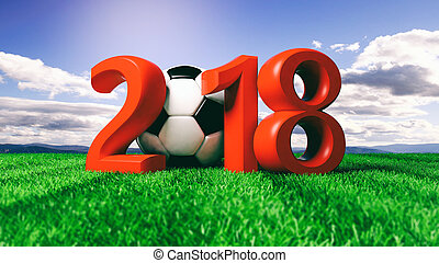 New year 2018 with soccer football ball on grass, blue sky background. 3d illustration