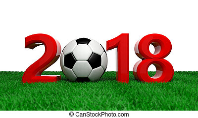 New year 2018 with soccer football ball on green field, white background. 3d illustration