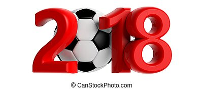 New year 2018 with soccer football ball on white background. 3d illustration