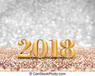 new year 2018 year gold number ( 3d rendering ) at sparkling golden silver glitter studio background ,Holiday Greeting card.Banner mock up for display of design.