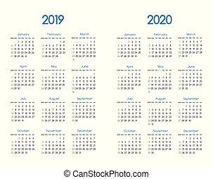 New year 2019 and 2020 vector calendar modern simple design ...