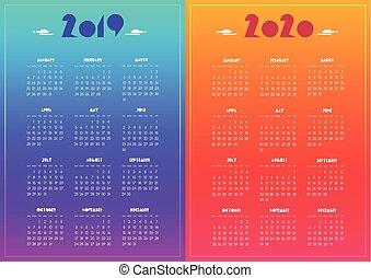 New year 2019 and 2020 vector calendar modern vivid blue, ...