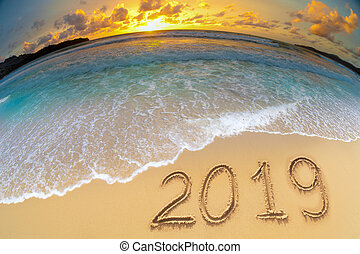 new year 2019 beach celebrate concept