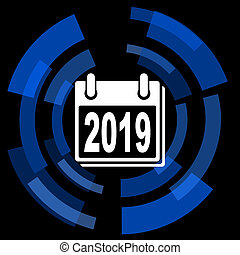 new year 2019 black background simple web icon