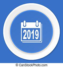 new year 2019 blue flat design modern web icon