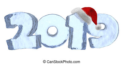 New Year 2019 blue ice text with red hat