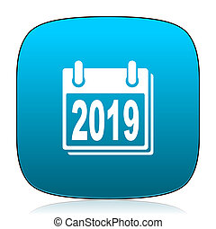new year 2019 blue icon