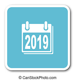 new year 2019 blue square internet flat design icon