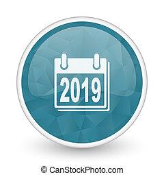 New year 2019 brillant crystal design round blue web icon.