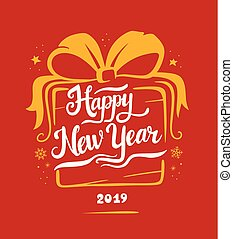 new year 2019 card vector illustrations in a gift shape