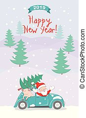 New year 2019 card with santa and pig in retro car