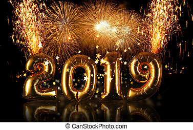 New Year 2019 celebration concept with golden numbers and fireworks
