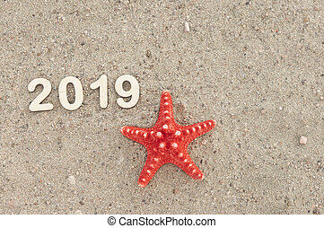 New year 2019 celebration on the beach, summer Christmas vacations concept