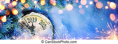 New Year 2019 - Celebration With Dial Clock On Snow And...