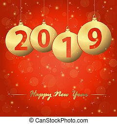 new year 2019 christmas bubbles - red background with golden...