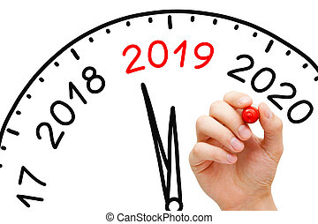 New Year 2019 Clock Concept