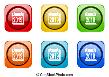new year 2019 colorful web icons