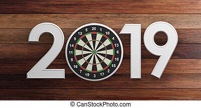 New year 2019, darts on bullseye isolated on wooden background. 3d illustration
