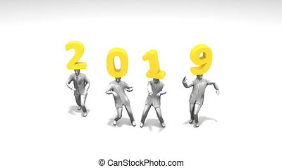 New year 2019 funny dancing people