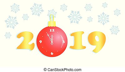 New Year 2019, gold numbers, Christmas ball clock