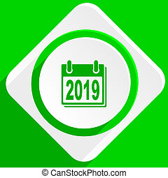new year 2019 green flat icon