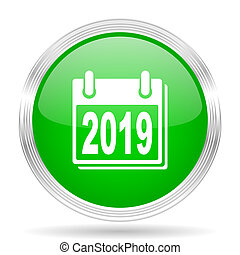 new year 2019 green modern design web glossy icon