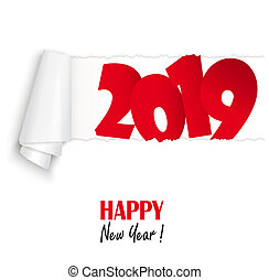 new year 2019 greetings - ripped open white paper showing...