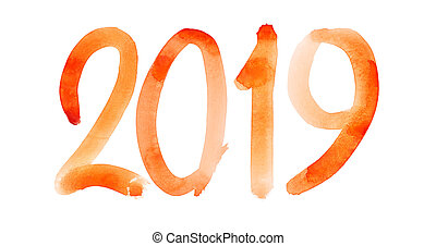 New year 2019 - Hand drawn red watercolor number isolated on the white background
