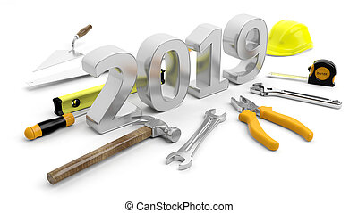 New year 2019. Hand tools and number 2019 on white background. 3d illustration