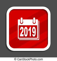 New year 2019 icon. Flat design square internet banner.