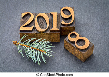 new year 2019 in wood type