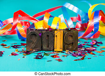 New Year 2019 letterpress typeset