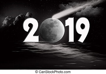 New Year 2019 moon and comet