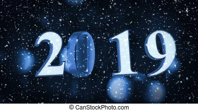 New Year 2019 - New year numbers with glowing background...