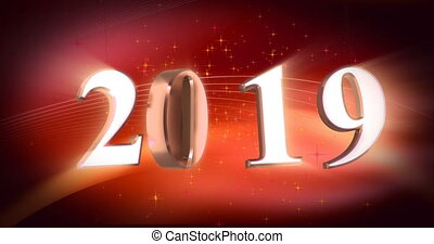 New Year 2019 - New year numbers with shine (seamless)
