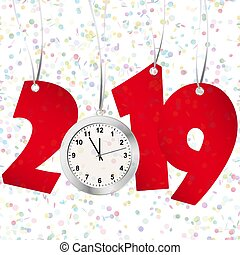 new year 2019 numbers and clock - red numbers showing New...