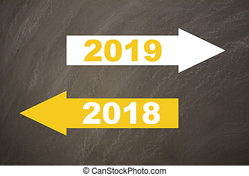 New year 2019 on the blackboard