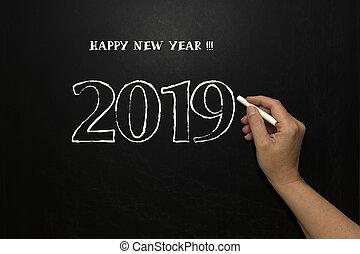 New year 2019 on the blackboard