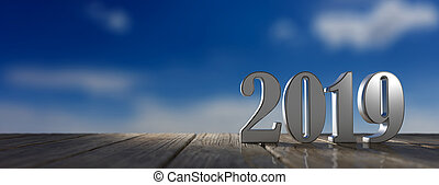 New year 2019 on wooden floor, blue sky at sunrise, banner, copy space. 3d illustration