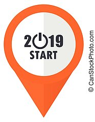 New year 2019 orange pointer vector icon in eps 10 isolated on white background.