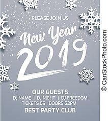 New year 2019 party poster invitation decoration design. Dance disco xmas holiday template background with snowflakes