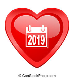 new year 2019 red heart valentine glossy web icon