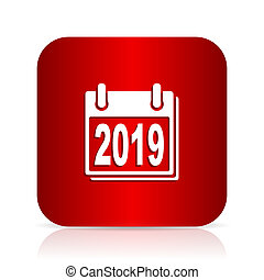 new year 2019 red square modern design icon