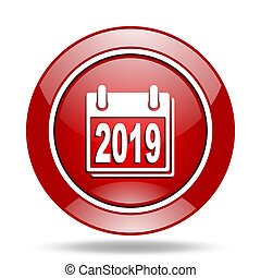 new year 2019 red web glossy round icon
