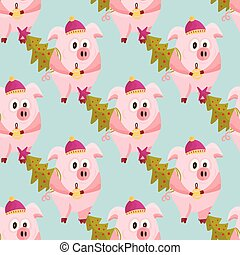 New Year 2019 seamless pattern with pigs.