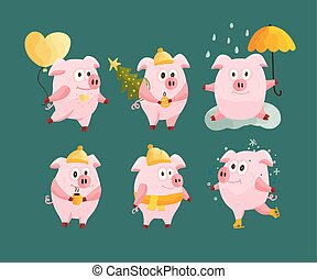 New Year 2019 set with Christmas cartoon flat pink pigs.