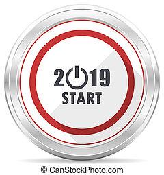 New year 2019 silver metallic chrome border round web icon on white background