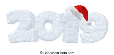 New Year 2019 snow text with Santa Claus red hat