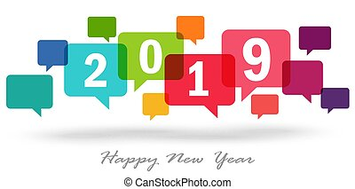 new year 2019 speech bubbles - new year greetings with...