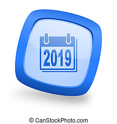new year 2019 square glossy blue web design icon